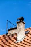 在红色屋顶的老烟囱 老屋顶 生态热化房子 免版税图库摄影