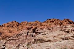 在红色岩石峡谷,内华达的红色岩石峭壁 免版税库存照片
