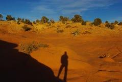 在红色岩石的影子 免版税库存照片