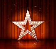在红色帷幕剧院背景的星减速火箭的轻的横幅 库存例证
