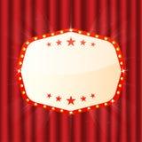 在红色帷幕的空的标志 戏院,剧院,赌博娱乐场牌 与辉光灯的减速火箭的轻的框架 皇族释放例证
