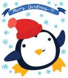 在红色帽子的滑稽的企鹅 皇族释放例证