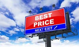 在红色广告牌的最佳的价格题字 免版税库存图片