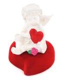 在红色心脏的天使 免版税库存照片