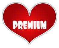在红色心脏贴纸标签的保险费 免版税库存照片