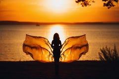 在红色日落天空的性感的妇女剪影,肉欲 库存照片