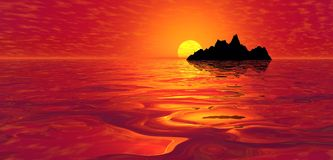 在红色日落的海岛海洋 库存图片