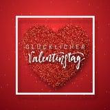 在红色明亮的心脏背景的愉快的情人节字法贺卡 免版税库存图片