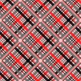 在红色条纹的无缝的格子花样式,黑白 方格的斜纹布织品纹理 数字式textil的传染媒介样片 皇族释放例证