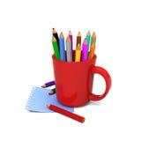 在红色杯子的色的铅笔 库存图片