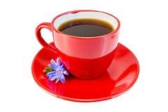 在红色杯子的苦苣生茯饮料有蓝色花的 免版税库存图片