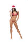 在红色比基尼泳装的美好的健身模型和 库存照片