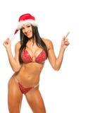 在红色比基尼泳装的美好的健身模型 库存图片