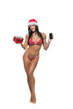 在红色比基尼泳装的美好的健身模型 免版税图库摄影