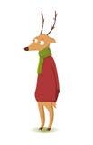 在红色毛线衣的微笑的滑稽的圣诞节鹿 免版税库存图片
