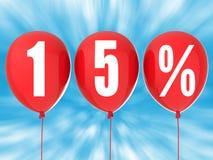15%在红色气球的销售标志 免版税库存照片