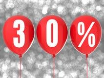 30%在红色气球的销售标志 免版税库存图片