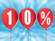 10%在红色气球的销售标志 免版税库存图片