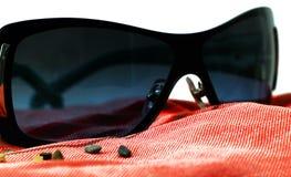 在红色海滩毛巾的时尚太阳镜 库存图片