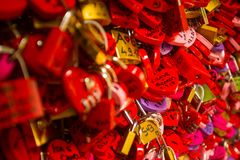 在红色爱锁的细节 库存图片