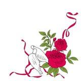 在红色玫瑰和丝带,传染媒介例证的白色爱鸟 免版税库存图片