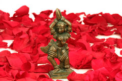 在红色玫瑰花瓣河床上的跳舞Devi  免版税图库摄影