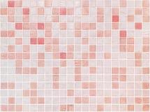 在红色瓦片的特写镜头表面瓦片样式在卫生间墙壁文本 库存照片