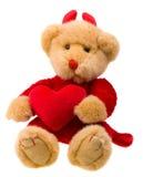在红色白色的熊大恶魔重点 库存图片