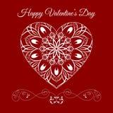 在红色的传染媒介回纹装饰花卉心脏 愉快的情人节假日 皇族释放例证