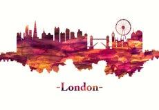 在红色的伦敦英国地平线 向量例证