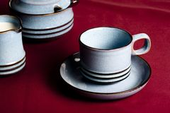 在红色的咖啡杯 免版税库存图片