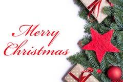 在红色的圣诞快乐在r的圣诞节背景边界 免版税库存照片