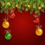 在红色的圣诞节球编织了与杉树分支的背景 库存例证