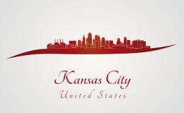 在红色的坎萨斯城地平线 免版税库存照片
