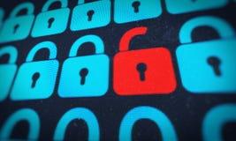 在红色的安全锁 免版税库存照片