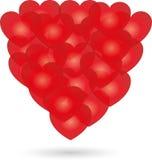 在红色的心脏,心脏和爱背景 库存图片