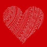 在红色的抽象白色样式心脏 库存例证