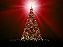 在红色的抽象金黄圣诞树。EPS 10 库存照片