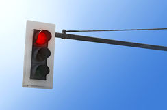 在红色的红绿灯 免版税库存照片