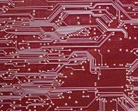 在红色的计算机电路板 免版税库存照片