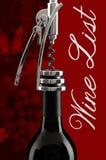 在红色的酒类一览表 库存照片