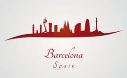 在红色的巴塞罗那地平线 免版税库存图片