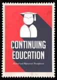 在红色的继续教育在平的设计。 库存图片