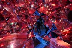 在红色的轻的Origami在生动的悉尼 库存照片