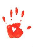 在红色的Handprint。 免版税库存图片