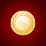 在红色皮革的金牌 免版税库存图片