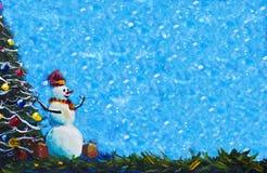 在红色盖帽的快活的雪人有礼物盒原始的绘画和圣诞树的 库存例证