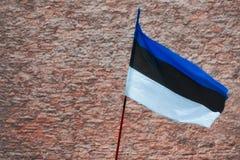 在红色石头的爱沙尼亚旗子 免版税库存图片