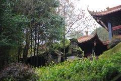在红色石狮子的寺庙的旁边汉语 免版税库存照片