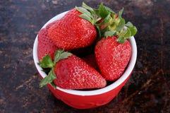 在红色碗的草莓 库存照片